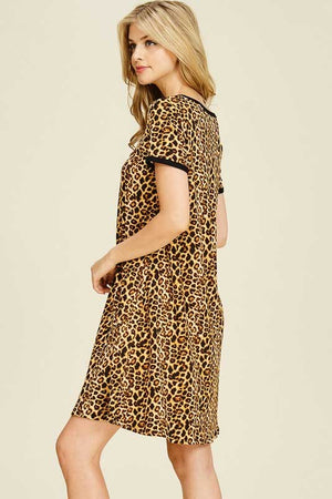 Women's Short Sleeve Animal Print Dress