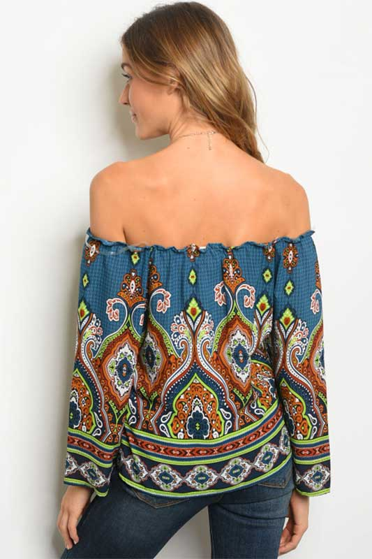 women's off the shoulder long sleeve print tunic