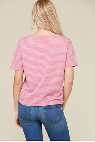 Women's Rose Tie Top Short Sleeve Shirt