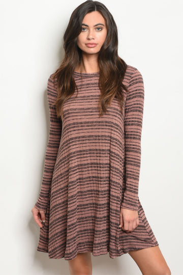 Be True Mauve and Gray Striped Jersey Dress