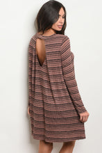 Women's Long Sleeve Mauve and Gray Striped Dress For Fall