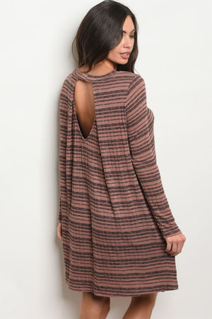 Women's Mauve and Gray Striped Dress