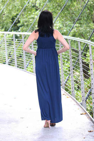Women's Sleeveless Tank Maxi Dress Blue
