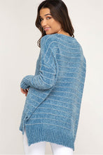 Soft Teal Striped Sweater in Chenille