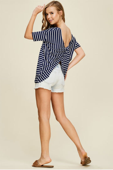 Women's Navy Short Sleeve Striped Shirt