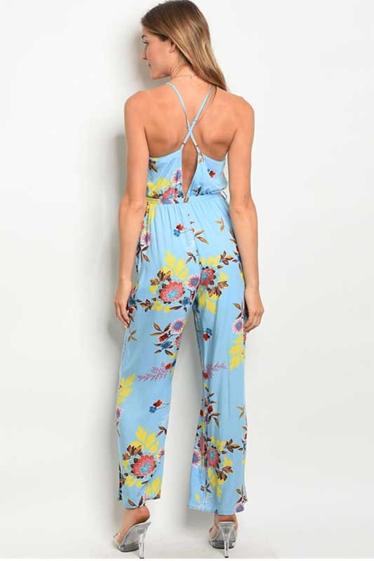 women's floral blue jumpsuit with crossover front