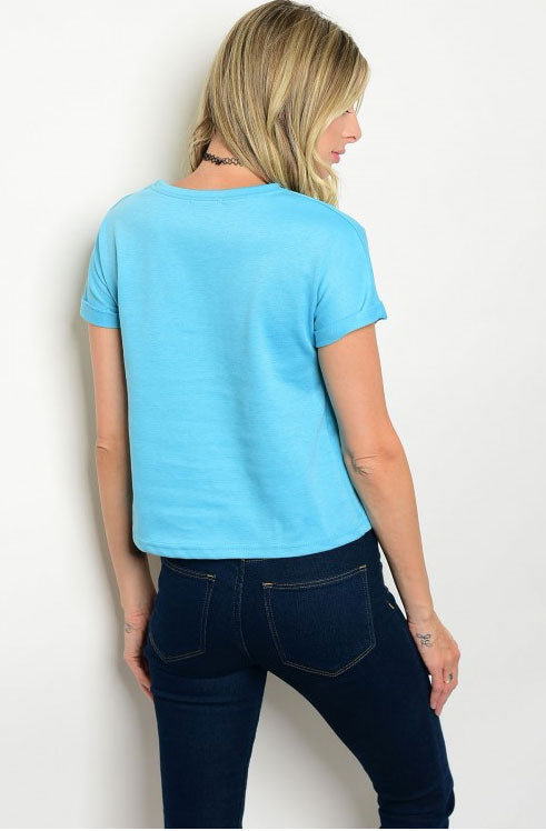 Women's Casual Pool Blue Laced Up Sides Shirt