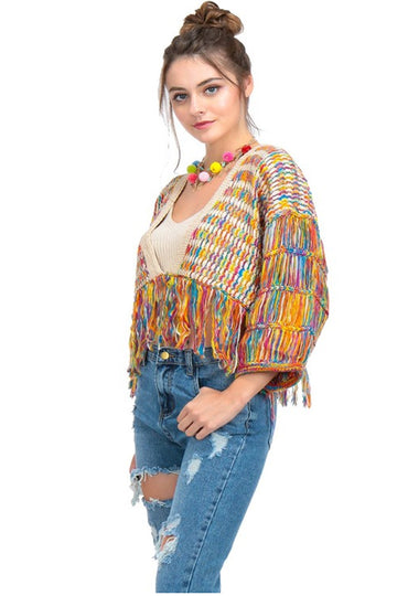 Women's Cropped Multicolored Fringe Sweater