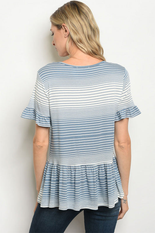 Women's Blue Striped Short Sleeve Tunic top