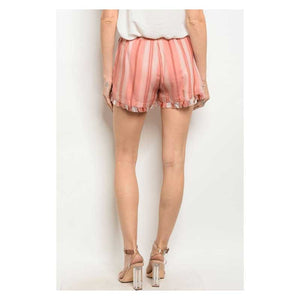 Striped Rust Shorts for Women