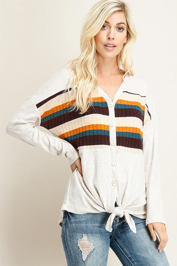 Women's Oatmeal Tie Front Striped Shirt
