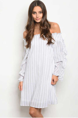 Women's Summer Off Shoulder Striped Tunic Dress