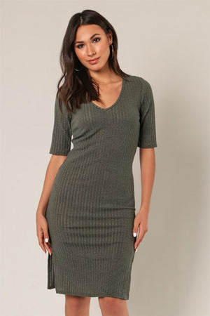 Women's Olive Ribbed Knee Length Dress