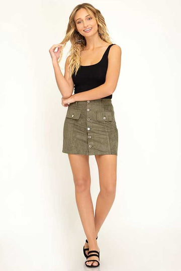Women's Faux Suede Olive Mini Skirt