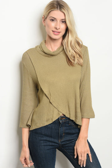 Women's Olive Long Sleeve Top