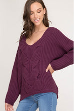 Women's Cable Knit Sweater in Plum
