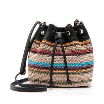 Striped Drawstring shoulder bag