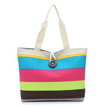 blue,pink,green striped tote bag