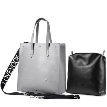 Gray large tote bag