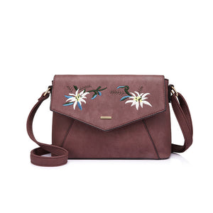 Purple embroidered floral crossbody bag