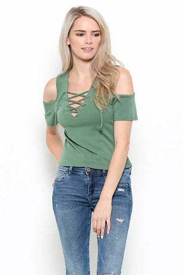 Raging Sage Cold Shoulder Casual Top
