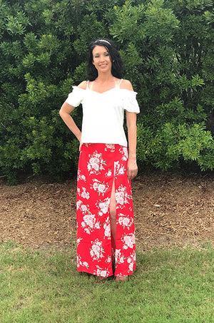 Women's Maxi Skirt with Floral Print and Slit Side