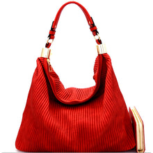 Red striped vegan leather hobo bag