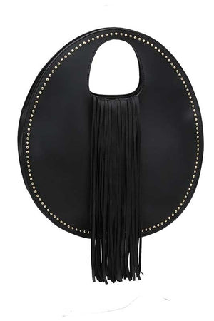 Women's Round Black Vegan Bag with Fringe