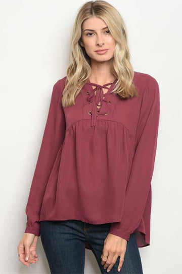 Women's Lace Up Plum Long Sleeve Blouse