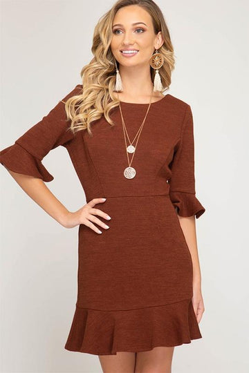 Rusty Ruffles Knit Dress