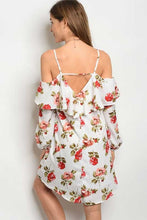 Women's off the shoulder ivory and floral mini dress with ruffles