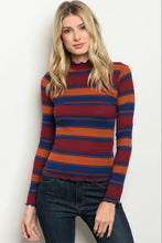 Women's Orange Striped Long Sleeve Top for Fall and Winter