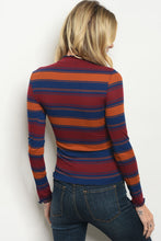 Women's Striped Top with Ruffled Neck and Sleeves for Fall and Winter