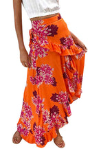 Women's Floral Print Maxi Skirt with Ruffles