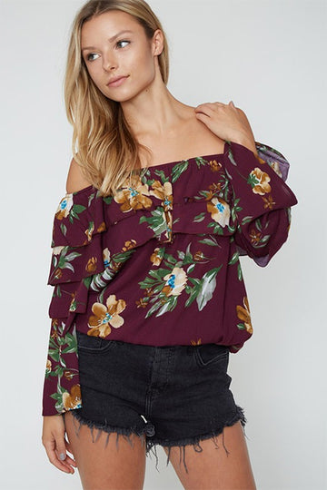 Take It Away Burgundy Off The Shoulder Top