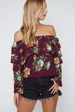 Long Sleeve Off The Shoulder Top With Floral Print