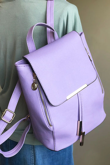 Women's Vegan Leather Lilac Backpack