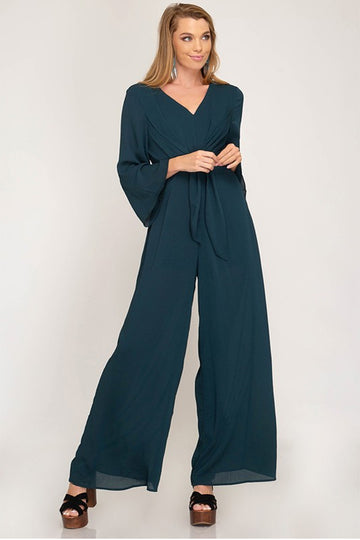 Women's Long Sleeve Teal Jumpsuit