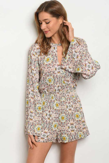 women's long sleeve print romper