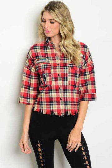 Women's Distressed Plaid Button Up Top