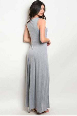 Women's Draped Front Cut Gray Jersey Dress