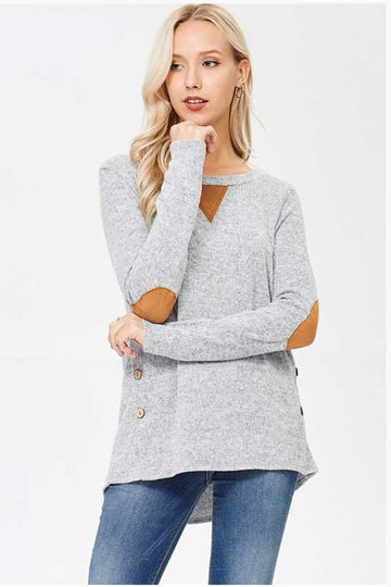 Women's Gray Sweater with Elbow Patches