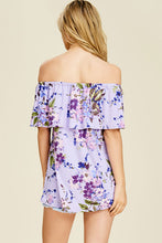 Women's Floral Print Off The Shoulder Ruffle Shirt