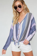Women's Long Sleeve Multi Striped Tie Front Top