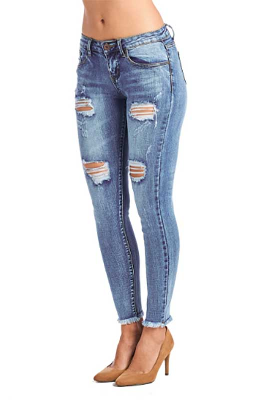 Women's Mid Waist Distressed Jeans