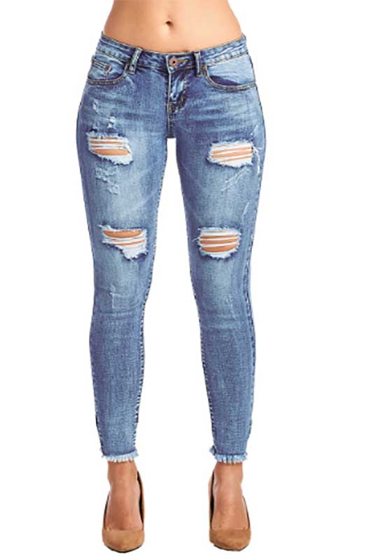 Women's Medium Wash Distressed Jeans