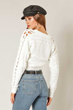 Women's Cropped Ivory Sweater