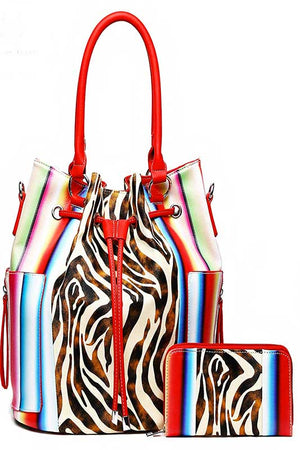 Women's zebra print handbag with stripes in red