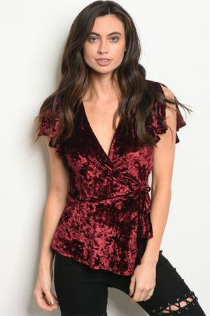 Women's Short Sleeve V-Neck Velvet Top in Wine