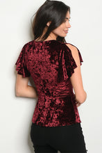 Women's Short Sleeve V Neck Velvet Top